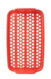 Красная пластичная решетка пищевого контейнера изолированная над белой предпосылкой Стоковые Фото