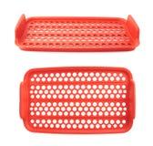 Красная пластичная решетка пищевого контейнера изолированная над белой предпосылкой Стоковое Фото