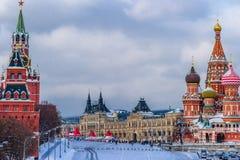 Красная площадь Москвы в зиме Стоковое фото RF