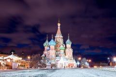 Красная площадь ночи в зиме Стоковое Изображение