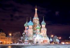 Красная площадь ночи в зиме Стоковые Изображения