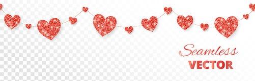 Красная рамка сердец, безшовная граница Яркий блеск вектора изолированный на белизне Для украшения карточки дня валентинки и мате Стоковые Изображения RF
