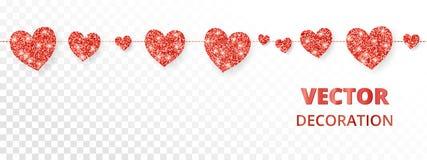 Красная рамка сердец, безшовная граница Яркий блеск вектора изолированный на белизне Для украшения карточки дня валентинки и мате Стоковое Изображение RF