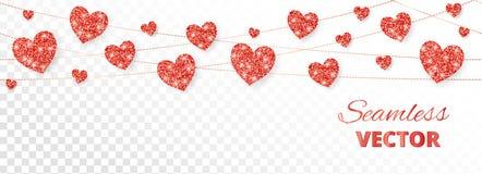 Красная рамка сердец, безшовная граница Яркий блеск вектора изолированный на белизне Для украшения карточки дня валентинки и мате Стоковое Фото