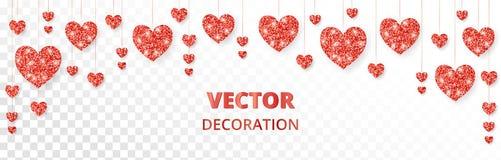 Красная рамка сердец, граница Яркий блеск вектора изолированный на белизне На карточки день валентинки и матерей, wedding приглаш Стоковое Фото