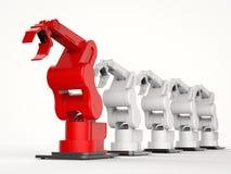 Красная робототехническая рука как руководитель иллюстрация штока