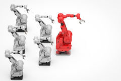 Красная робототехническая рука как руководитель иллюстрация вектора
