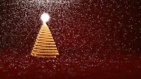 Красная рождественская елка от частиц зарева сияющих на левой стороне Тема зимы для предпосылки Xmas или Нового Года с космосом э иллюстрация штока