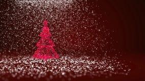 Красная рождественская елка от частиц зарева сияющих на левой стороне в широкоформатном всходе Тема зимы на Xmas или Новый Год иллюстрация вектора