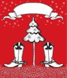 Красная рождественская открытка с ботинками ковбоя и fir-tree. иллюстрация штока