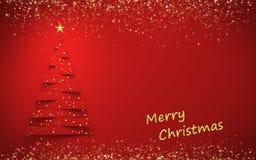 Красная рождественская открытка с космосом экземпляра Стоковая Фотография