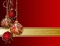 Красная рождественская открытка Стоковое фото RF