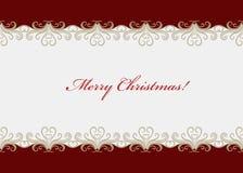 Красная рождественская открытка с безшовной swirly границей Стоковое фото RF