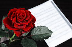 Красная роза и страница нот стоковое фото rf
