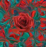 Красная роза на абстрактном красном зеленом backgrund Стоковые Изображения RF
