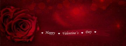 Красная роза с лентой подарка (счастливый день валентинок) Стоковое Фото