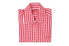 Красная рубашка в клетке изолированной на белой предпосылке стоковые изображения rf