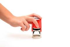 Красная рука штемпеля Стоковые Фото
