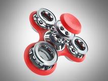 Красная рука Spiner 3d представляет на серой предпосылке Стоковые Фото
