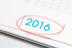 Красная ручка отметки на 2016 Стоковые Изображения RF