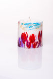 Красная свеча с цветками на белизне Стоковые Фото