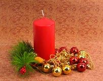 Красная свечка рождества Стоковые Изображения
