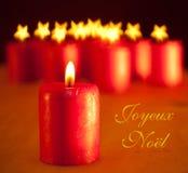 Красная свечка рождества Стоковая Фотография