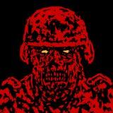 Красная сердитая крышка солдата зомби также вектор иллюстрации притяжки corel Стоковое Изображение RF