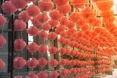 Красная смертная казнь через повешение китайского стиля фонарика лампы comp украшенная в китайском фестивале Нового Года Стоковое Изображение