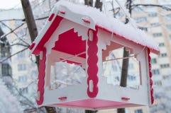 Красная смертная казнь через повешение фидера птицы на дереве покрытом с снегом в городе в зиме Стоковые Фотографии RF