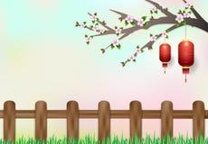Красная смертная казнь через повешение фонарика на ветви вишневого цвета Backgrou природы Стоковое фото RF