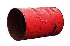 Красная старая ржавчины масла бочонка изолированная на белой предпосылке Стоковое фото RF