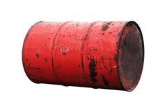 Красная старая ржавчины масла бочонка изолированная на белой предпосылке Стоковое Фото