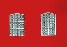 Красная стена дома и 2 деревянных окна Стоковые Фотографии RF