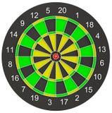 Красная стрелка дротика положенная на центр dartboard Стоковое Изображение RF