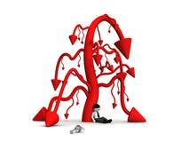 красная стрелка 3d вниз Стоковое Изображение RF