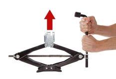 Красная стрелка вверх на jack автомобиля Стоковые Изображения RF