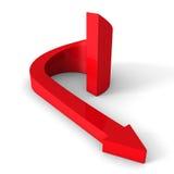 Красная стрелка круга идя вниз развалина воды корабля дег руки кризиса принципиальной схемы иллюстрация вектора