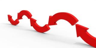 Красная стрелка направления на белой предпосылке Стоковые Фото