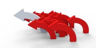 Красная стрелка направления на белой предпосылке Стоковая Фотография