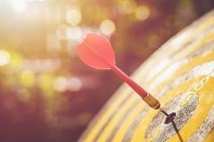 Красная стрелка дротика в центре dartboard Нерезкость и bokeh в солнце Стоковые Изображения RF