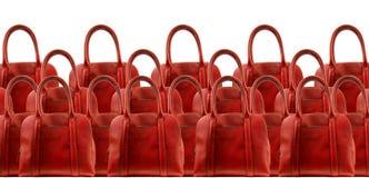 Красная сумка кожи женщины стоковое фото