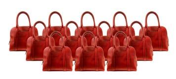 Красная сумка кожи женщины стоковое фото rf