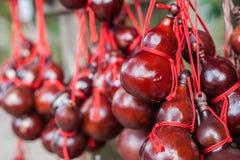 Красная сухая смертная казнь через повешение тыквы бутылки на баре Стоковая Фотография RF