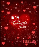 Красная счастливая поздравительная открытка дня валентинок с сердцами и sparkels вектор Стоковая Фотография RF