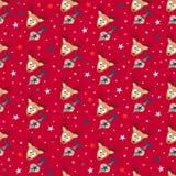 Красная с Рождеством Христовым безшовная предпосылка картины иллюстрация штока