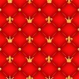 Красная текстура с кронами, лилиями и кнопками Стоковое Изображение RF