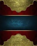 Красная текстура с рамкой золота и место для текста Шаблон для конструкции скопируйте космос для брошюры объявления или приглашен Стоковое Фото