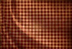 Красная текстура ткани пикника Стоковая Фотография