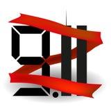 красная тесемка Башни Близнецы одиннадцатое -го сентябрь США 9 11 также вектор иллюстрации притяжки corel Стоковые Изображения RF
